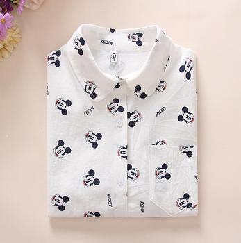Mulheres Camisas De Algodão 2018 Primavera Nova Impressão Dos Desenhos Animados Manga Longa Blusas Brancas Camisas Partes Superiores das mulheres Blusas Blusa Feminina