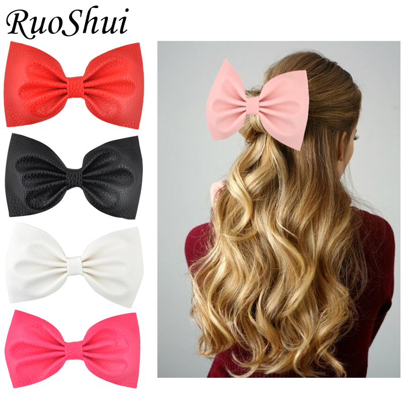 Ruoshui 5 Inch Synthetic Leather Hairpins Girls Hair Bows Clips Alligator Clips Woman Hair Accessories Ladies Headwear Barrettes