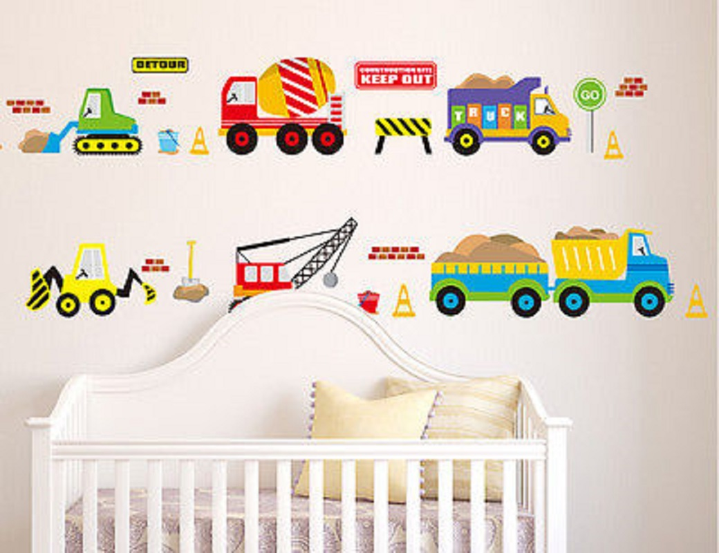 50x70cm digger wall decals construction trucks tractor - Colorful room for kids ...