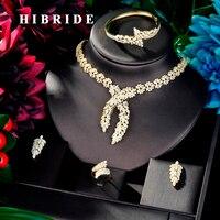 HIBRIDE Luxury Design Gold Color Leaf Shape Women 4 pcs Jewelry Set Dress Necklace Earring Jewelry Set For Party Gits N 880