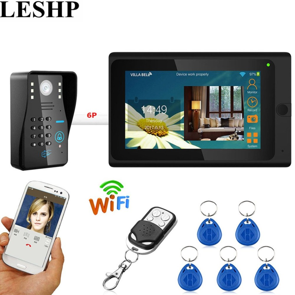 LESHP Video intercom Door Phone Wifi Video Doorbell 7 inch Wired RFID Password intercom Camera Night Vision Remote APP Unlocking 7 inch video doorbell tft lcd hd screen wired video doorphone for villa one monitor with one metal outdoor unit night vision