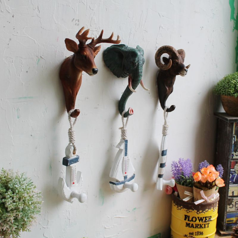 Dofaso cafe bars restoring ancient ways stereo animals hanging wall deer head individuality creative decoration hook in Bathroom Shelves from Home Improvement