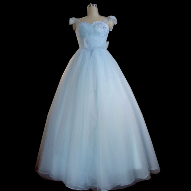 Simple Light Blue Wedding Dresses 2016 Tulle Cinderella Dress ...
