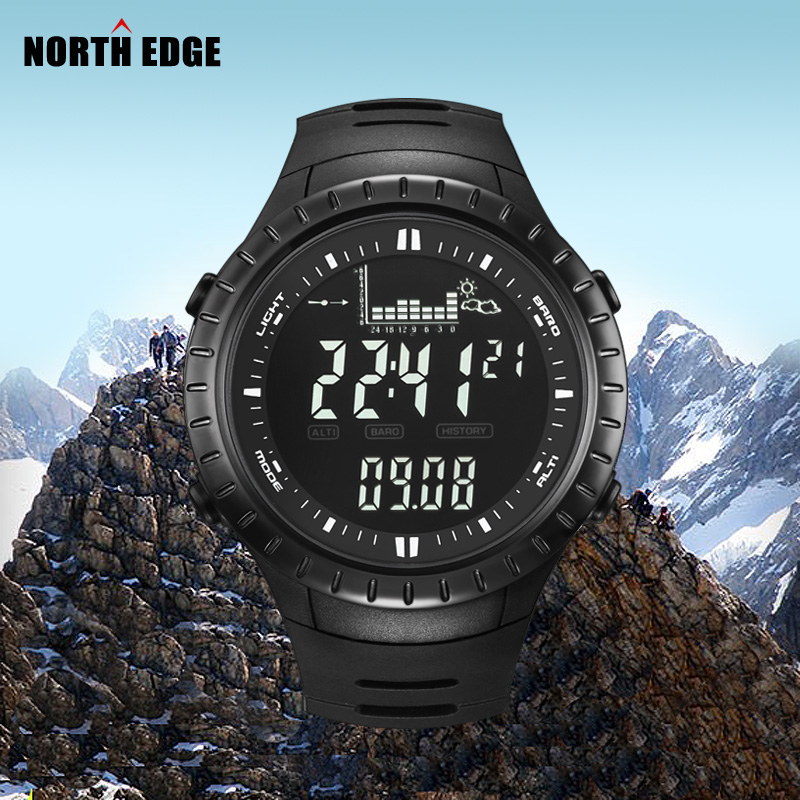 NORTH EDGE Men Digital Watches Outdoor watch Clock Fishing Altimeter Barometer Thermometer Altitude Climbing Hiking Sports Hours ezon multifunction sports watch montre hiking mountain climbing watch men women digital watches altimeter barometer reloj h009