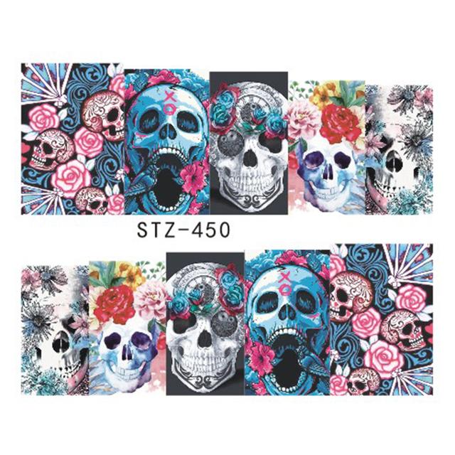 Halloween Cartoon Skull Nail Stickers
