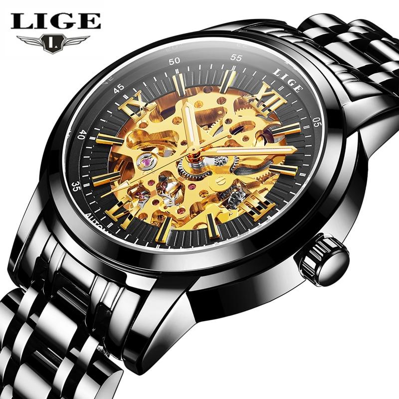 relogio masculino LIGE Mens Watches Top Brand Luxury Automatic Watch Men Fashion Business Full Steel Waterproof Wrist watches майка print bar звездное небо