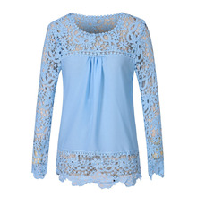 Women Blouses Multicolor Crochet Lace Shirt Floral Lace Long Sleeve Chiffon Blouse Lace Tops Plus Size S-5XL