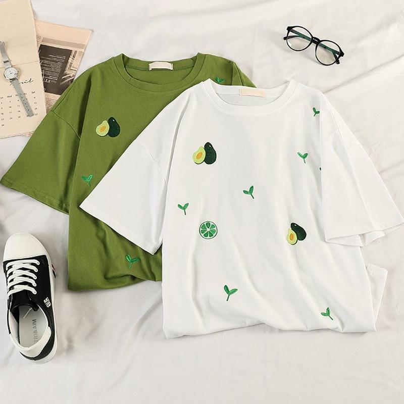 Cartoon Avocado Vegan Short Sleeve Cute T-shirts Women Small Fresh Casual T Shirt Harajuku Ullzang Tshirt Fashion Top Tee Female