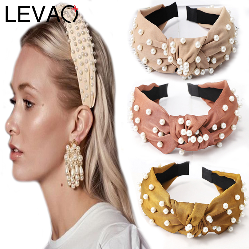 LEVAO Korean Fashion Women Pearl Vintage Wide Size Solid Knotted Bezel Turban Headband Hairbands Girls Hair Accessories   Headwear