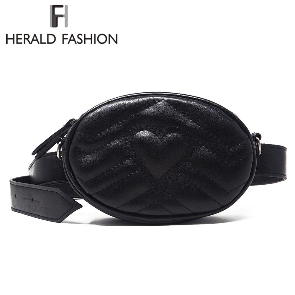 Herald Mode Femmes Taille Sac Qualité En Cuir Femelle Ceinture Sacs de Dame  Petit Pack Poitrine 779b7038b1d