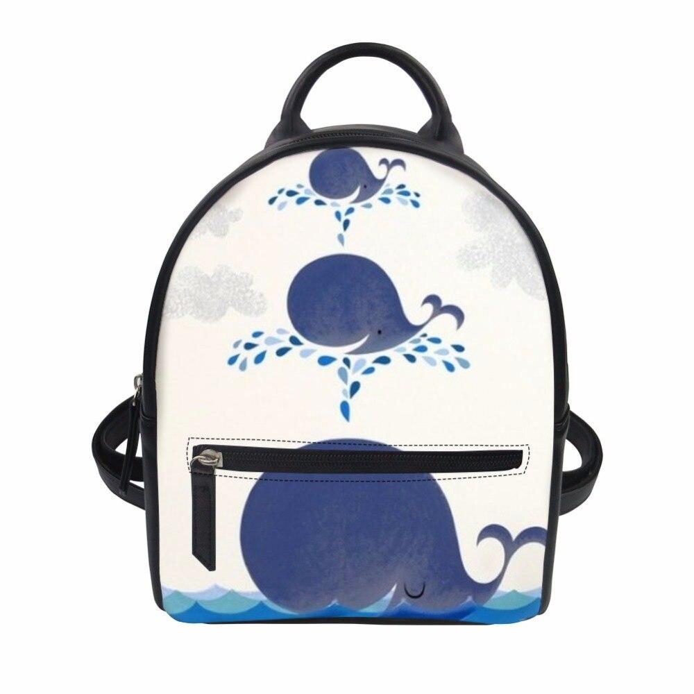 Noisydesigns Cute cartoon whale PU School Bag for Girls Small Zombine Shoulder Book Bags Daily Women Travel Punk Back Packs