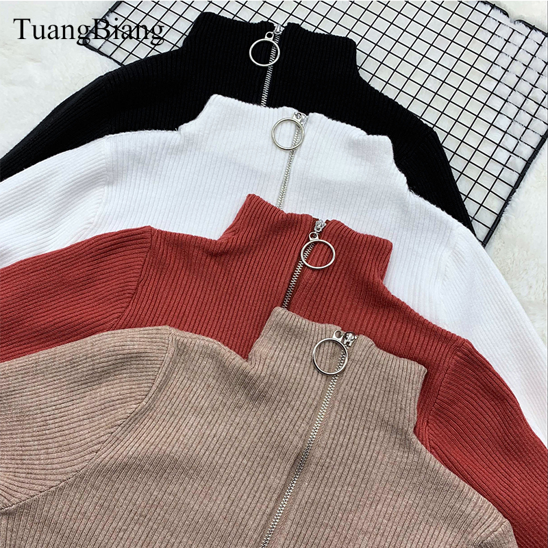Women Zipper Turtleneck Thick Full Sleeve Autumn Sweater 2019 Winter Warm Knitted Pullovers Sweaters Solid Casual Ladies Jumper