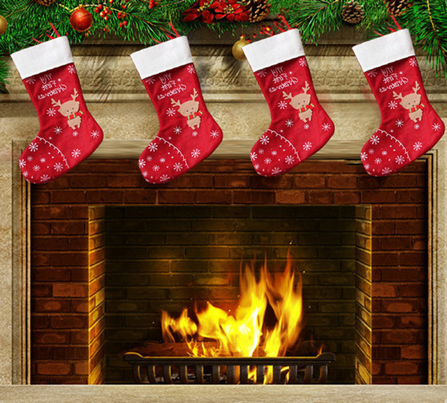 4Pcs/Set 30CM Embroidery Xmas Stockings Apple Candy Bags Gifts Deer  Enfeites De Natal Fireplace
