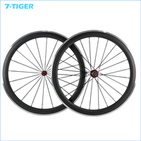 700C Carbon Clincher Road Wheelset with Alloy Braking Surface 50mm high 3K and aluminum rims 23mm width