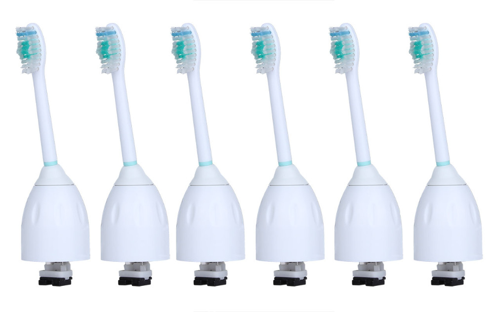 6Pcs/Lot Electric Sonic Toothbrush Heads Replacement For Philips Sonicare Brush Heads E-Series Soft Bristles Essence HX7001 16pcs best sonic electric toothbrush replacement for philips sonicare brush heads hx6064 diamond clean soft bristles black new