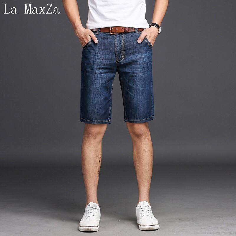 Biker Jeans Men High Quality Denim Knee Length Men Jeans Straight Pure Color Men Short Jeans