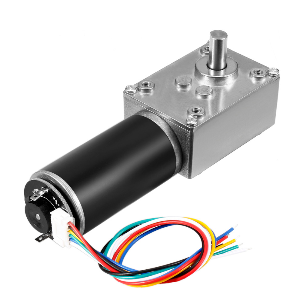 Uxcell Newest 1 Pcs DC 24V 15RPM 70Kg.cm Self-Locking Worm Gear Motor With Encoder And Cable, High Torque Speed Reduction Motor все цены