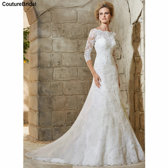 c3c5325210a White Lace Mermaid Wedding Dresses Elegant Wedding Gown Appliqued Boat Neck  Half Sleeve Bridal Gowns for Brides MW2776