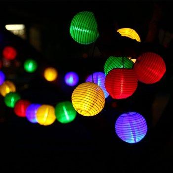 Fener dekorasyon 20 LED Güneş Dize Işıklar Çok Renkli 4.8 M Su Geçirmez küresel top dize halat açık peri tatil aydınlatma