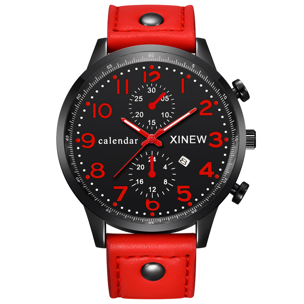 Hot! Hot! Hot! 2017 Fashion Men Sports Date Analog Quartz Leather Stainless Steel Wrist Watch dropshiping Y7818