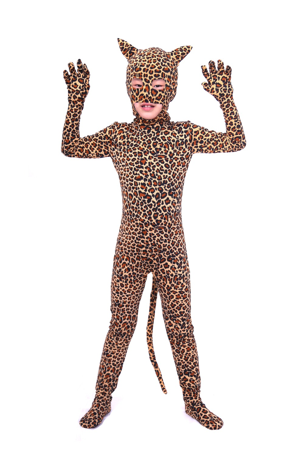 Unisex Child Open Eyes Open Nose and Mouth Lycra Leopard Animal Zentai Boys Cute Print Full Body Suit Zentai with Ear and Tail