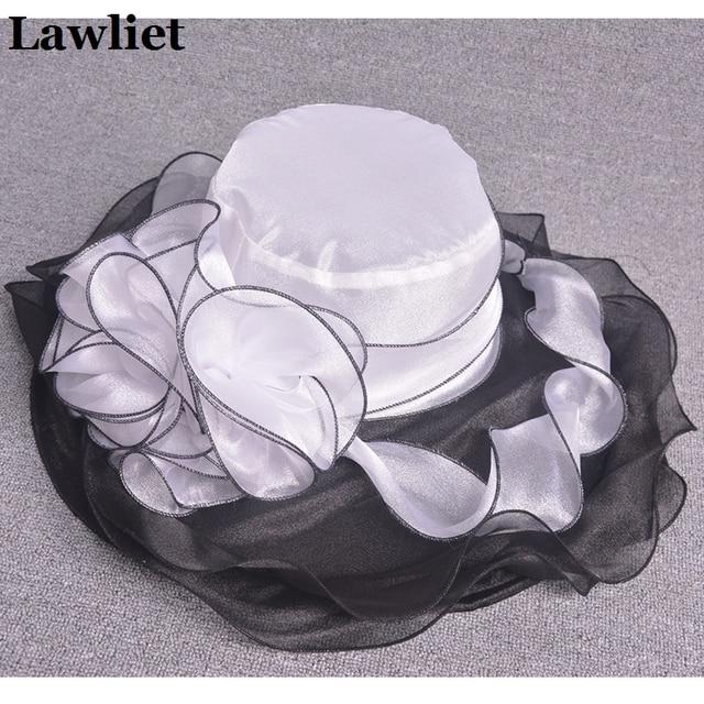 Floral elegante Vestido de Iglesia Kentucky Derby sombreros Cintas De Organza Mujeres Sombrero de Ala Ancha Plegable Sombrero de Sol Playa Verano Señoras Hat405