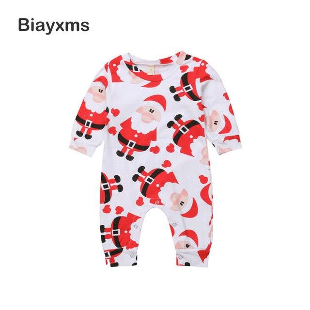 Christmas Newborn Baby Girl Boys Romper Cartoon Santa Claus Long Sleeve Infant Baby Jumpsuit  Cotton Xmas Baby Clothes D15