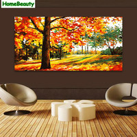 Home Beauty Trees 50 100 Diy Canvas Painting By Numbers Picture For Living Room Acrylic Drawing
