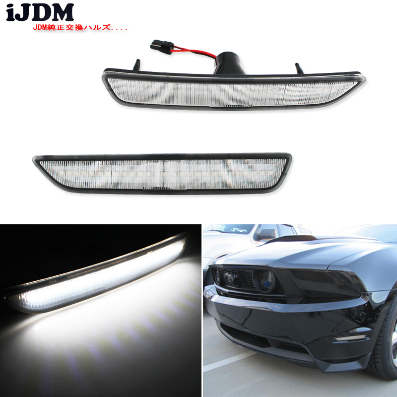 iJDM Clear Lens Front Side Marker Lamps with 27 SMD Amber/white LED Lights For 2010 2014 Ford Mustang Front Bumperlamp lamplamp with lenslamp white -