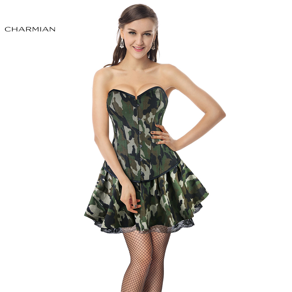 Charmian Sexy Army Girl Fancy Halloween Costume for Women Camouflage Green Skirt Costume Cosplay Adult Erotic Uniform Cosplay