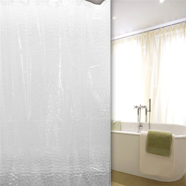 3D PEVA Waterproof Transparent Plastic Shower Curtains For Bathroom Hotel Home Bath Decoration Cut Off Hooks