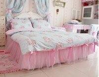 BD05 Princesse fille douce rose et dentelle couette cove ensemble ensemble de literie Couette 100% coton chambre Décembre textile de maison en gros