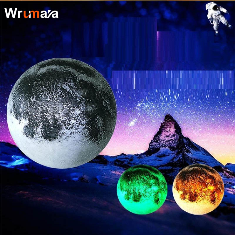 Wrumava 3D LED Night Light 25cm Remote Moon wall lamp With Remote Control Romantic Round Moon Lights for Living Room Decorative keyshare dual bulb night vision led light kit for remote control drones