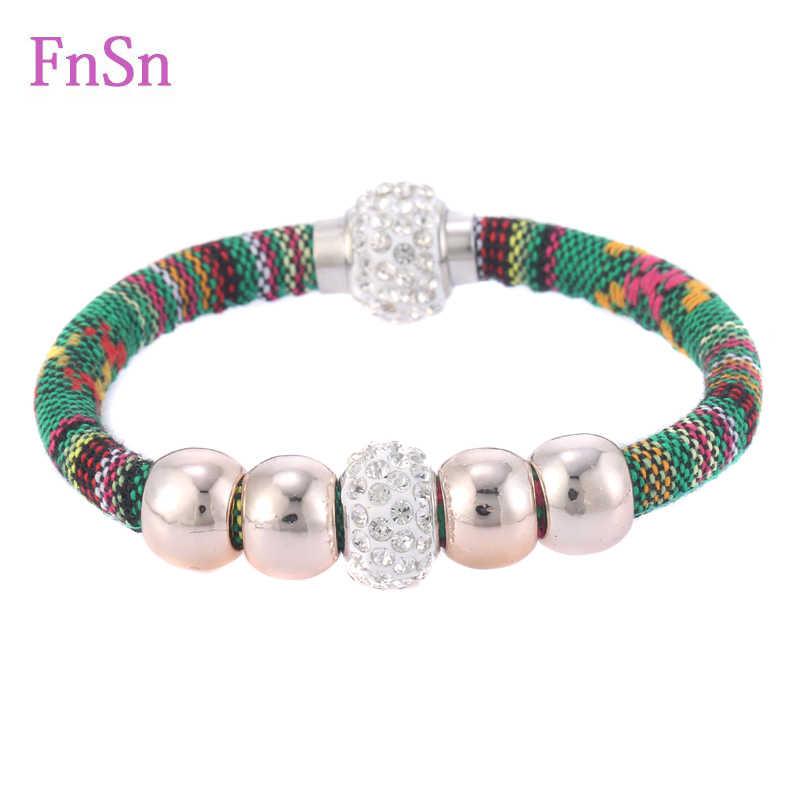 2016 pulseras calientes para mujer relleno de piedras de cristal pulsera de cuerda de algodón con patrón colorido de joyería
