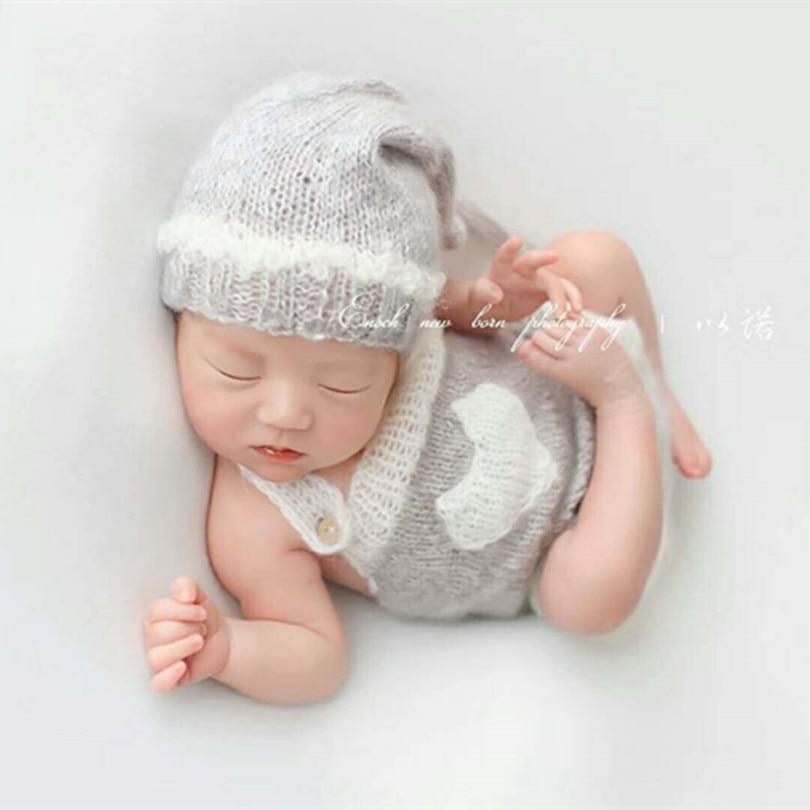 2 Pcs Newborn Hand Knit Mohair Pants Bonnet Hat for Baby Photography Photo Props