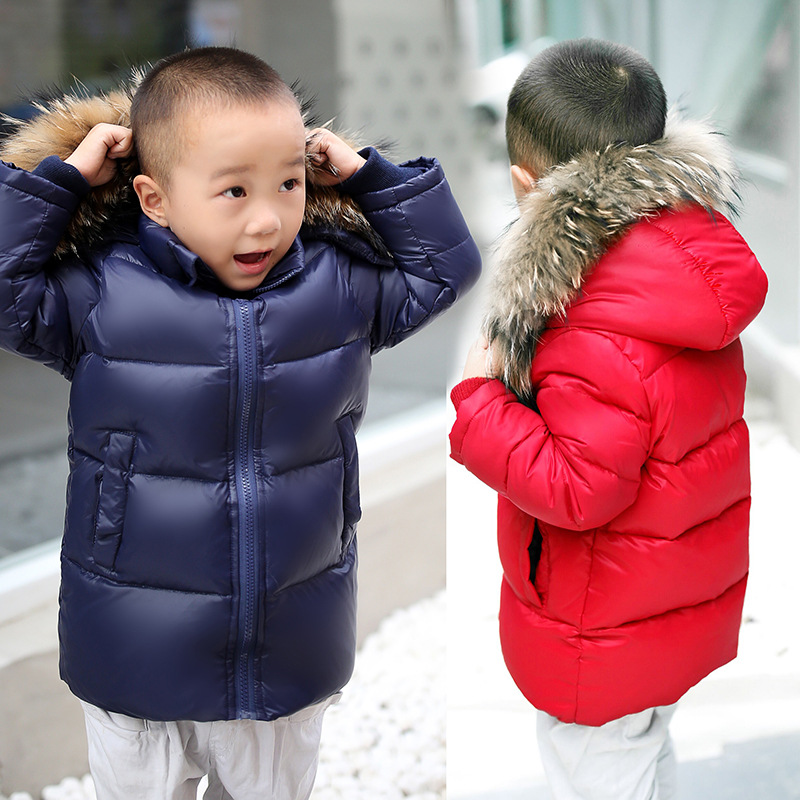 New Winter 2017 Kids Baby mid-Length down Jacket Real raccoon Fur Warm Hooded Jacket Coat for Children Girls Boys 3-12 years aimeixiuyi children real raccoon fur cotton padded jacket coat winter kids clothes boys girls warm hooded parkas outerwear