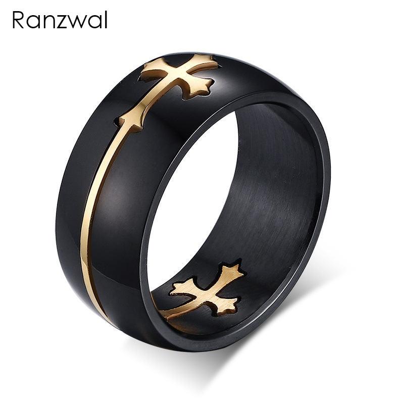 Ranzwal 8mm Black Stainless Steel Rings for Men Women Separable Cross Finger Rings Christian Jewelry SIZE 7~13 MRI045