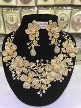 Luxury Gold Wedding Flower Necklace Earrings Set Chunky Statement Bridal Jewelry Set Crystal Rhinestone Jewelry for Women WC027
