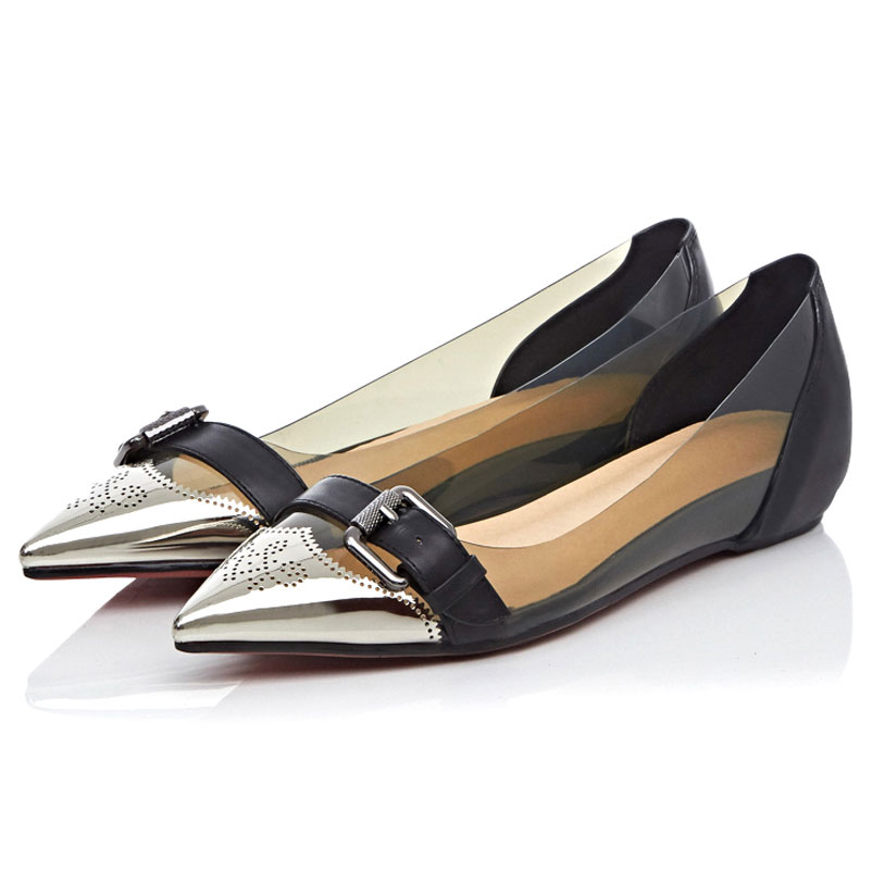 6a205b253c011 Ladies Shoes brand Buckles Women Famous Leather And PVC Designer Flat Shoes  2016 Pointed Toe Fashion Show Shoes For Spring-in Women's Flats from Shoes  on ...