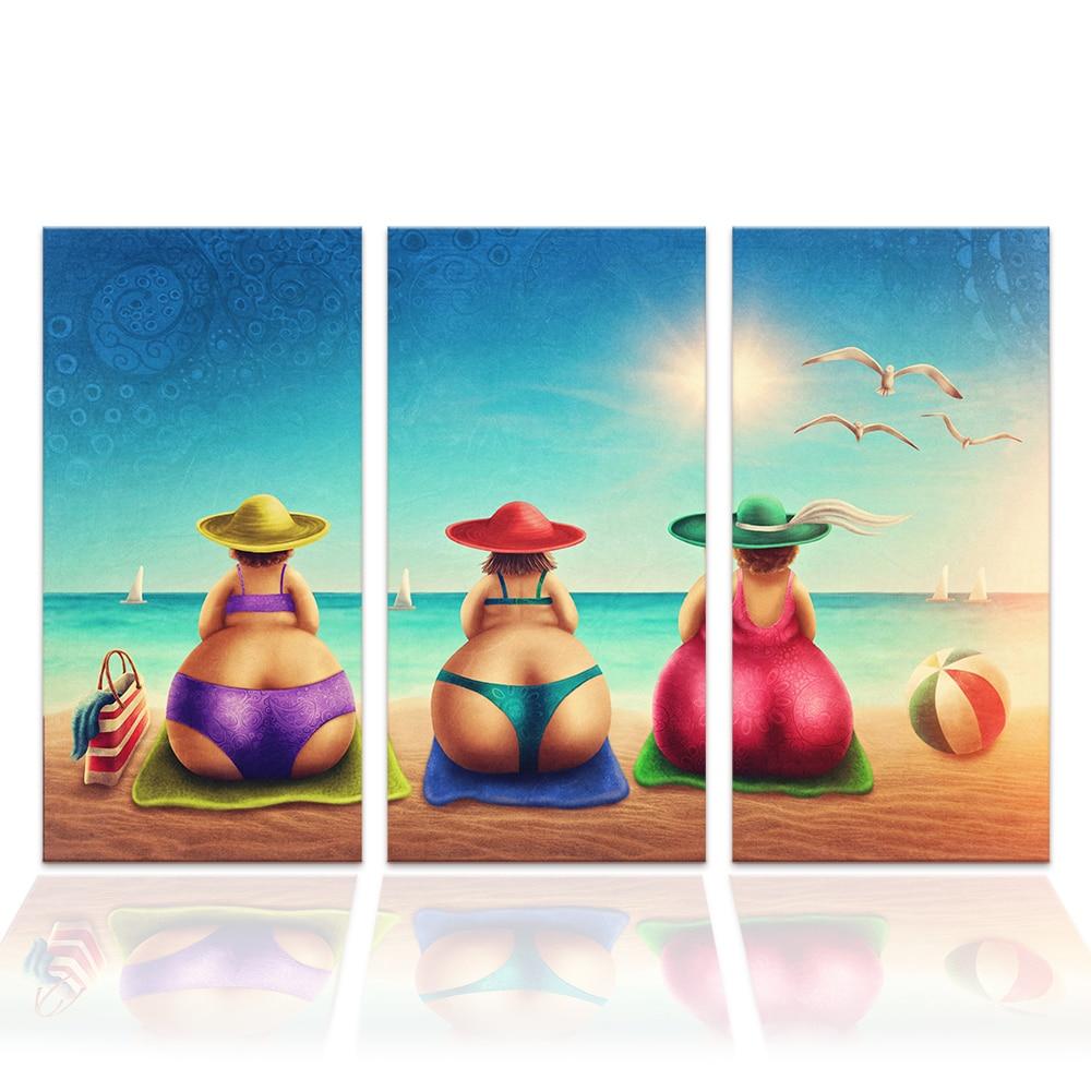 3 Pcs Fat Lady On Beach Canvas Art Painting Bikini Woman
