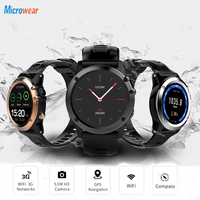 "Microwear H1 reloj inteligente Android 4 4 impermeable 1 39 ""BT4.0 3G/Wifi/GPS/SIM hombres Smartwatch dispositivos para iOS Android