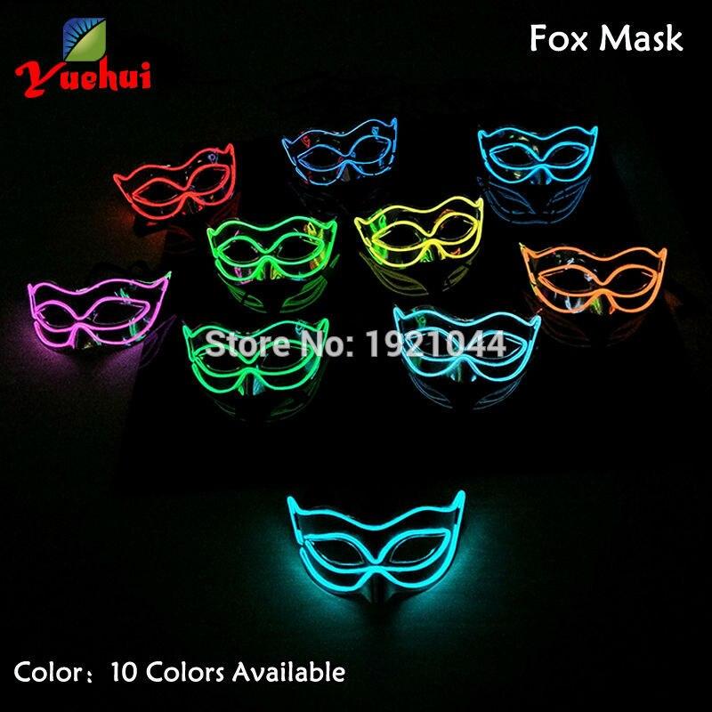 10 색상 사용할 수 EL 빛나는 다채로운 마스크 반 얼굴 PVC 빛나는 플래시 LED 빛 마스크 코스 프레 마스크 파티 장식