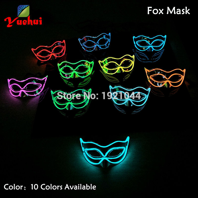 10 Colors available EL Luminous Colorful Mask Half Face PVC Shining Flash LED Light Mask Cosplay Mask Party Decoration