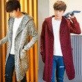 2016 novo suéter de inverno em longo macho casaco com capuz solto casaco de malha.