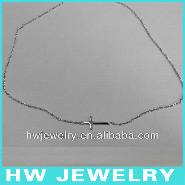 sideway cross silver necklace/ Sterling silver 925 necklace/ sideway cross