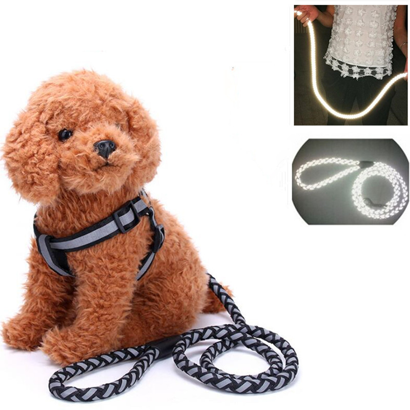 Reflective Dog Harness Leash Rope Nylon Braided Pet Training Leash for Medium Dogs Walking Leads Safer At Night
