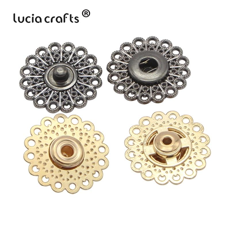 Lucia crafts 5 пар/лот золото/пистолет черный металлический аксессуар в виде цветка оснастки застежки кнопки DIY Швейные аксессуары для одежды G0522