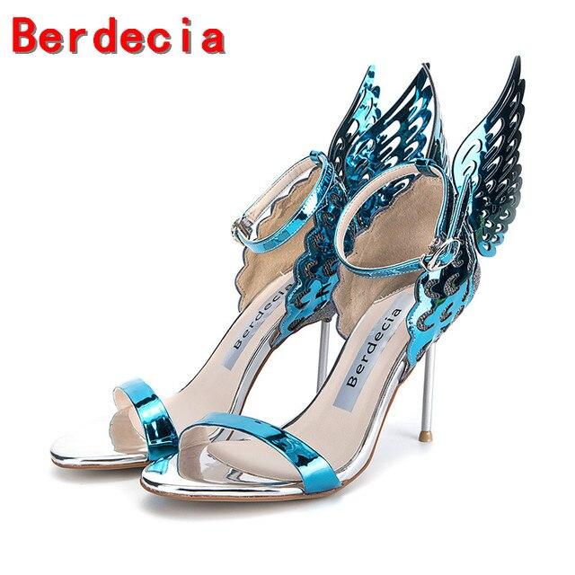 In Sandalen Frauen Peep Schuhe Metallic Alias Berdecia Gladiator Flügel Damen High 0berdecia Us156 Blue Mujer Splitter Heels Toe Designer 0nOkX8NPwZ
