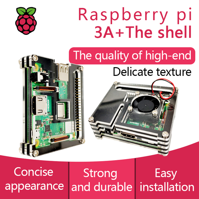 US $3 99 |Raspberry Pi 3 Model A+ Acrylic Case With Fan Pi 3A+ Shell-in  Demo Board Accessories from Computer & Office on Aliexpress com | Alibaba