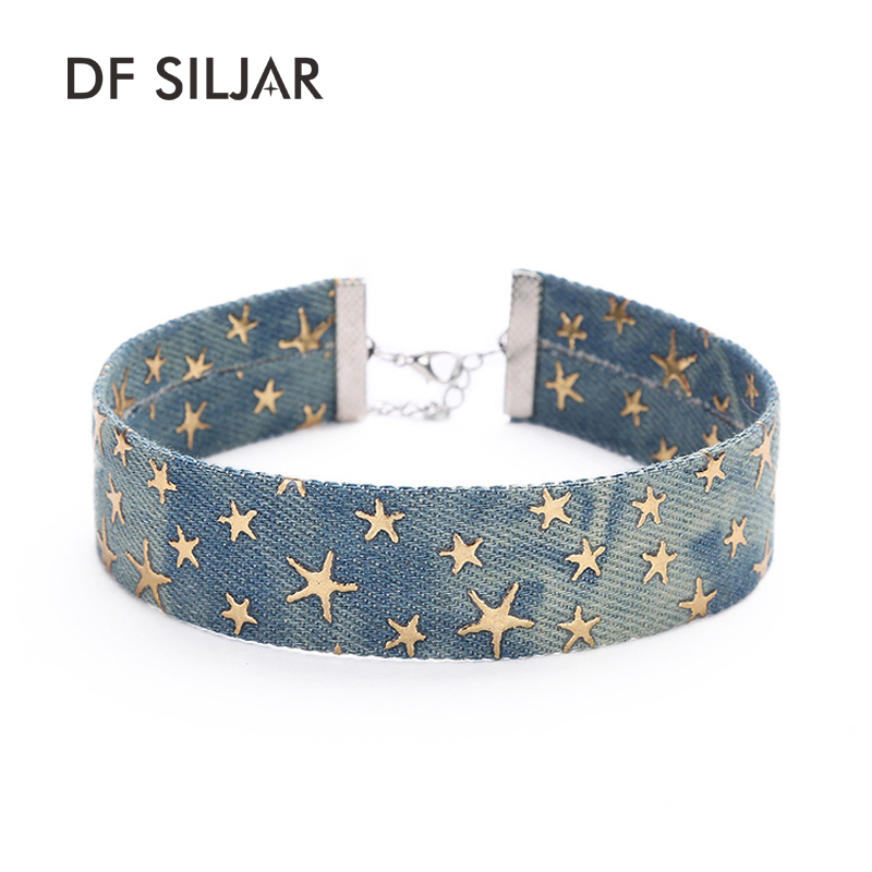 Blue Simple Jeans Denim Wide Necklace Women Short Collar Choker Necklace Tattoo Gold Sta ...